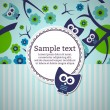 Card with cute funny owls — Stock Vector