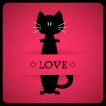 Valentijn kaart met schattige katten — Stockvector