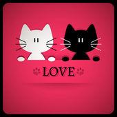 Alla hjärtans-kort med söta katter — Stockvektor