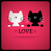 Valentine card with cute cats — Vector de stock