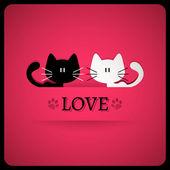 Carte de la saint-valentin avec chats mignons — Vecteur