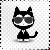 Gattino carino hipster in vestiti — Vettoriale Stock