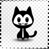 Cute hipster kitty in clothes — Stock Vector