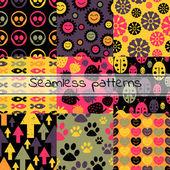 9 つのカラフルなシームレス パターンのセット — ストックベクタ