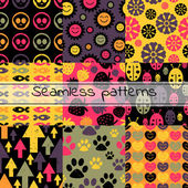 Set of nine colorful seamless patterns — Stok Vektör