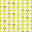 Pattern with funny faces various emotions — Stok Vektör