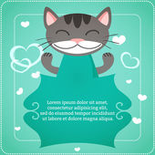 Card template with cute cat — Stock vektor