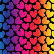 Rainbow romantic background template with hearts — Stock Vector