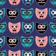 Seamless pattern with cute various owls — Stock Vector