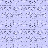 Cute childish seamless pattern with animal faces — Stock Vector