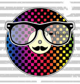 Card with rainbow vinyl record glasses and mustache — Vector de stock
