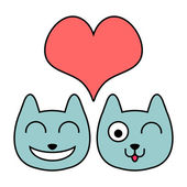 Two cute cat faces in love — Stock Vector