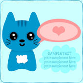 Cute kitty romantic card template — Vettoriale Stock