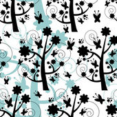 Seamless pattern with beautiful trees silhouettes — Stok Vektör