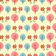 Cute childish seamless pattern with trees and flowers — Stock Vector