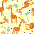 Seamless pattern with cute giraffes — Stock Vector