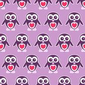 Joli modèle sans couture avec petits pingouins — Vecteur