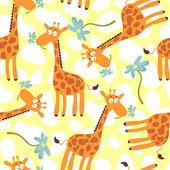 Seamless pattern with cute giraffes — Stock Vector