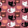 Seamless patterns with cute kittens in love — Stock Vector