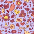 Cute doodles sweet seamless pattern — Stock Vector
