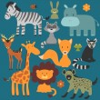 Set of cute various wild animals — Stock Vector