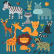 Set of cute various wild animals — Stock Vector #36568743