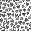 Romantic doodle hearts cute seamless pattern — 图库矢量图片