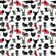 Seamless pattern with cute various colorful animals — Stock Vector