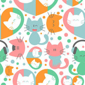 Seamless pattern with cute colorful kittens — Stock Vector