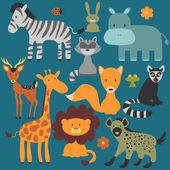 Set of cute various wild animals — Stock Vector