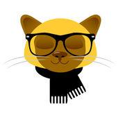 Cartão com cara de gato siamês bonito de óculos e cachecol — Vetorial Stock