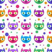 Mignon modèle sans couture avec des faces de chat coloré — Vecteur
