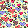 Cute Valentine seamless pattern with colorful hearts — Stock Vector