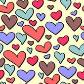 Cute Valentine seamless pattern with colorful hearts — Stockvector