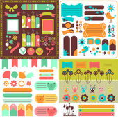 Collection of many cute scrapbook elements — Vettoriale Stock