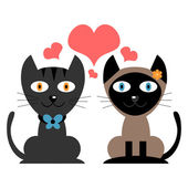 Cute couple of cats in love — Stock Vector