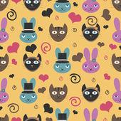 Funny cartoon animals romantic seamless pattern — Stock Vector