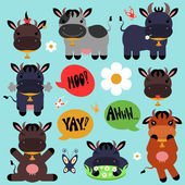 Set of cute cartoon cows — Stock Vector