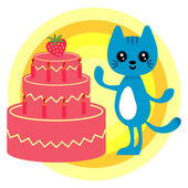 Birthday card with cute kitty and cake — Stock Vector