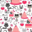 Seamless pattern with cute baby kittens — Stock Vector
