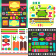 Collection of many cute scrapbook elements — Stock Vector
