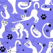 Seamless pattern with cute white cats — Stock Vector