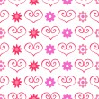 Cute romantic seamless pattern with hearts and flowers — Stock Vector #40645863