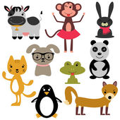 Set of random cute animals — Stock Vector