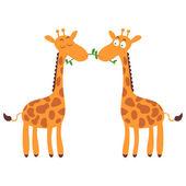Two cute giraffes in love — ストックベクタ