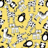 Naadloze patroon met schattige wilde dieren — Stockvector