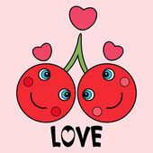 Two cute cherries in love — Stock Vector