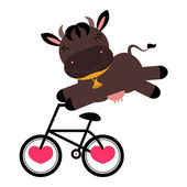 Funny cow on a bicycle — Stock Vector