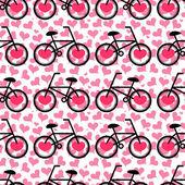 Romantic seamless pattern with bicycles — 图库矢量图片