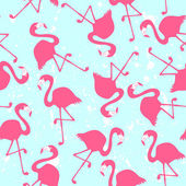 Seamless pattern with pink flamingos — Stock Vector